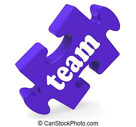 puzzle, insieme, unità, comunità, squadra, mostra