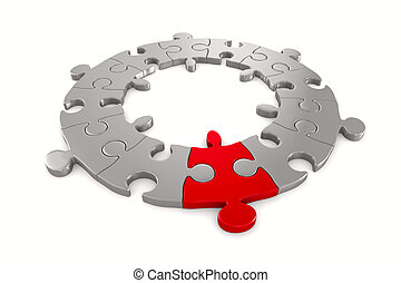 puzzle, isolé, arrière-plan., blanc, image, 3d