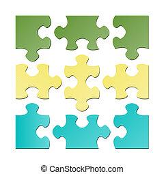 puzzle, isolé, morceaux