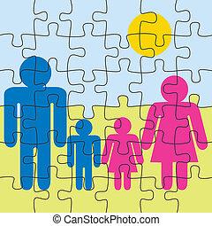 puzzle, jeu, fond, famille