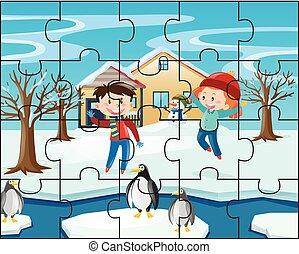 puzzle, jeu gosses, hiver
