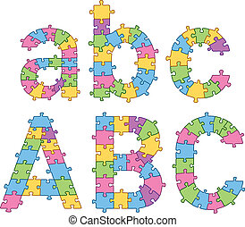 Puzzle Jigsaw Alphabet Letters - Vector set of puzzle jigsaw...