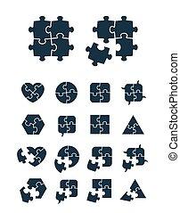puzzle, jigsaw, collezione, icone