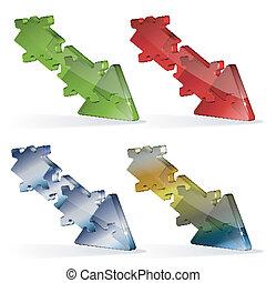 puzzle, jigsaw, freccia, 3d
