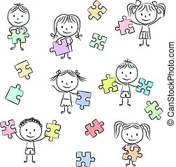 puzzle, jigsaw, gioco, bambini