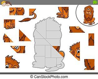 puzzle, jigsaw, gioco, leone, animale