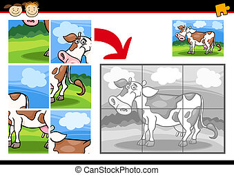 puzzle, jigsaw, gioco, mucca, cartone animato