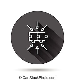Puzzle jigsaw icon in flat style. Solution compatible vector illustration on black round background with long shadow effect. Combination circle button business concept.