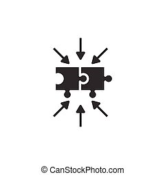 Puzzle jigsaw icon in flat style. Solution compatible vector illustration on white isolated background. Combination business concept.