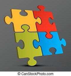 puzzle, jigsaw, -, illustrazione, pezzi, scuro, vettore, fondo, 3d