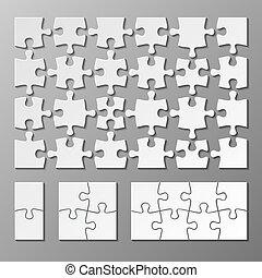 puzzle, jigsaw, isolato, vettore, sagoma, pezzo