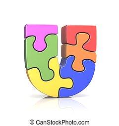 Puzzle jigsaw letter U 3D