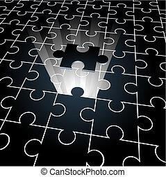 puzzle:, jigsaw, manglende stykke