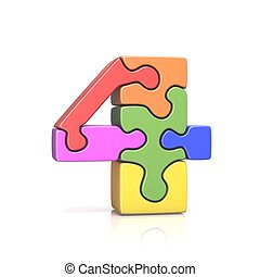 Puzzle jigsaw number FOUR 4 3D