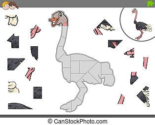 puzzle, jigsaw, struzzo, gioco, animale, uccello