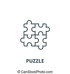 Puzzle, jigsaw vector line icon, linear concept, outline sign, symbol