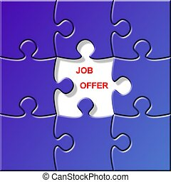 puzzle - job offer - a puzzle with a missing piece - job...