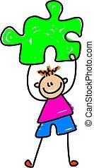 puzzle kid - little boy holding puzzle piece - toddler art...
