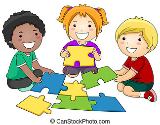 Puzzle Kids - A Small Group of Kids Re-constructing a Jigsaw...
