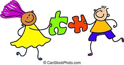 puzzle kids - diverse kids solving a puzzle together -...