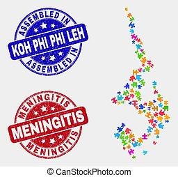 Puzzle Koh Phi Leh Map and Distress Assembled and Meningitis Watermarks