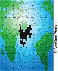puzzle, la terre, puzzle