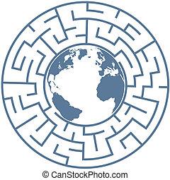 puzzle, labyrinthe, terre planète, radial, mondiale