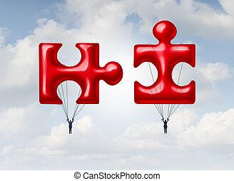 puzzle, lavoro squadra, affari