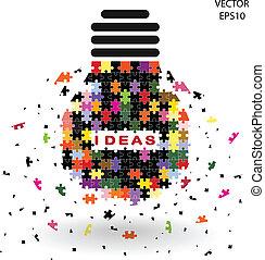puzzle light bulb idea concept,business ideas.