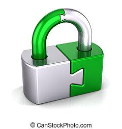 Puzzle lock green silver, padlock closed