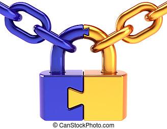 Puzzle lock security code concept