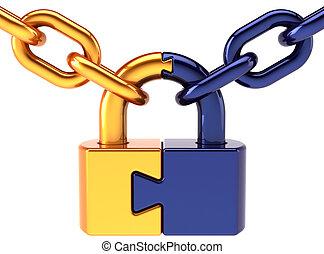 Puzzle lock security concept icon - Puzzle padlock closed...