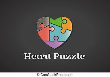 Puzzle Love Heart Autism Awareness Logo Design