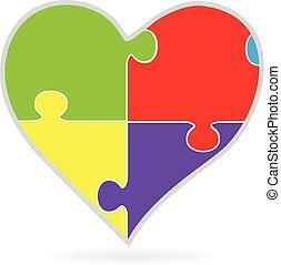 Puzzle love heart logo