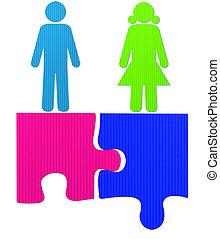 puzzle, mâle, femme