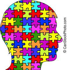 puzzle, mâle, silhouette, morceaux