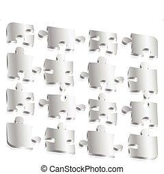 puzzle, métal, morceaux