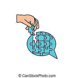 puzzle, main, forme, parole, morceaux, bulle