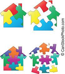 puzzle, maison