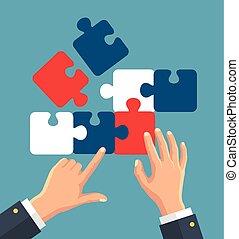 puzzle, mani, mettere, pezzi