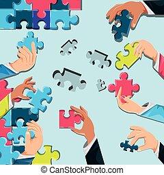 puzzle, mani, pezzi