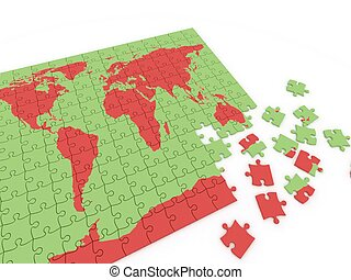 puzzle map of the world