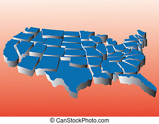 Puzzle style movable peice state map of the united states