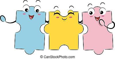 puzzle, mascotte, amici, pezzi