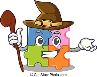puzzle, mascotte, strega, stile, cartone animato