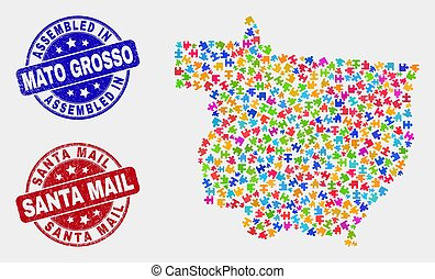 Puzzle Mato Grosso State Map and Grunge Assembled and Santa Mail Watermarks