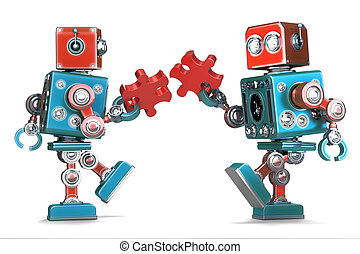 puzzle, montage, isolated., puzzle, contient, pieces., robots, retro, attachant voie accès
