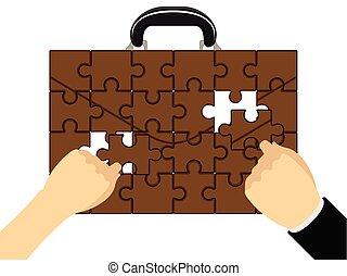 puzzle, montage, serviette, mains