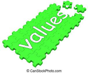puzzle, moralité, valeurs, principes, spectacles