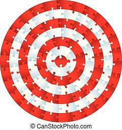 puzzle, morceaux denteux, bullseye., concentrique, circle.
